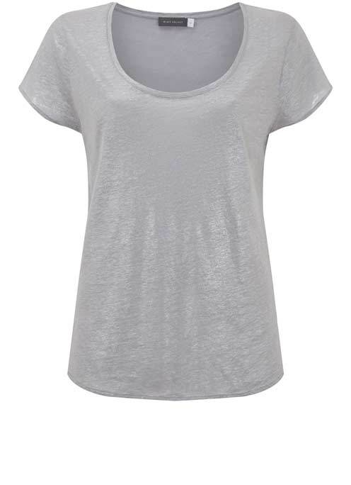 Lilac Shimmer Slouch Tee - neckline: round neck; pattern: plain; style: t-shirt; predominant colour: lilac; occasions: casual, creative work; length: standard; fibres: linen - 100%; fit: body skimming; sleeve length: short sleeve; sleeve style: standard; pattern type: fabric; texture group: jersey - stretchy/drapey; season: s/s 2016; wardrobe: highlight