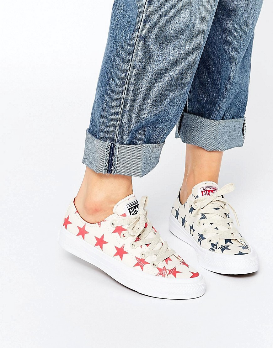 All Star Chuck Taylor Miss Match Cream Stars Ox Ii Plimsoll Trainers Parchment - predominant colour: white; secondary colour: navy; occasions: casual; material: leather; heel height: flat; toe: round toe; style: trainers; finish: plain; pattern: patterned/print; season: s/s 2016; wardrobe: highlight