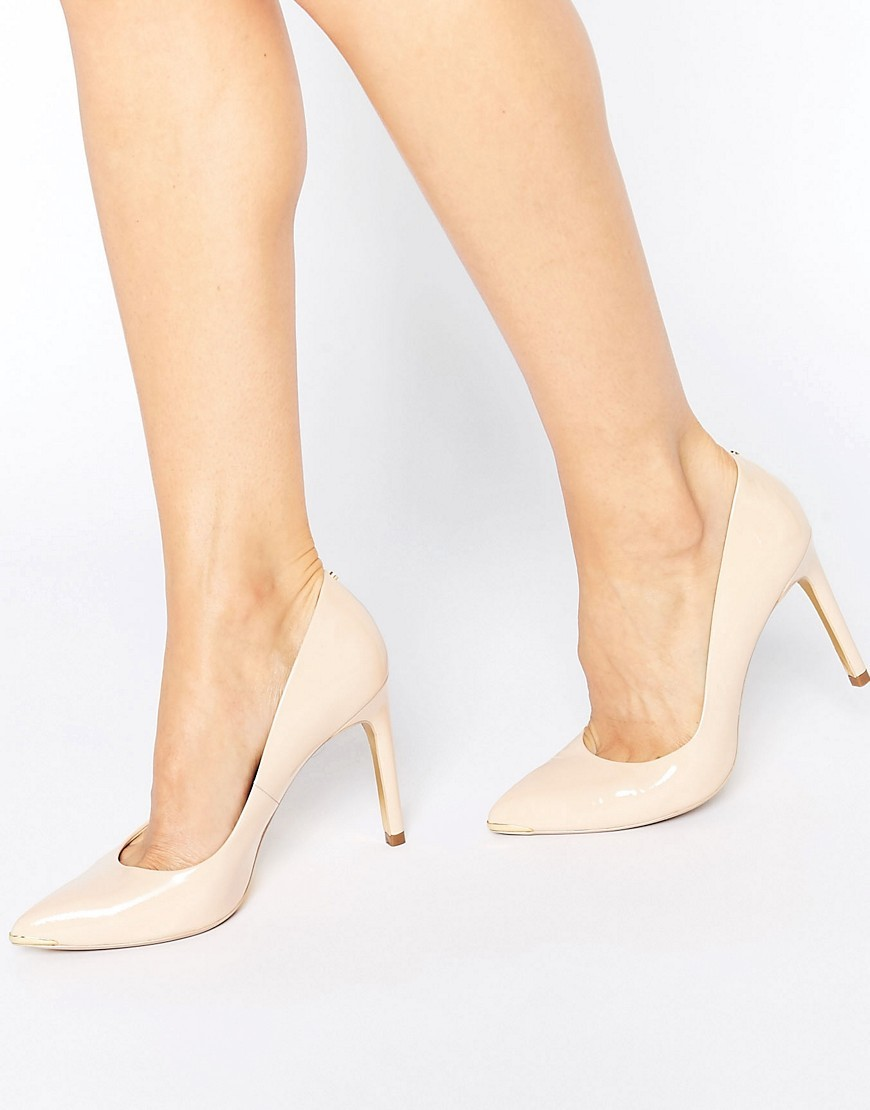 Neevo Nude Patent Court Shoes Nude Patent Leather - predominant colour: nude; occasions: occasion, creative work; material: leather; heel height: high; heel: stiletto; toe: pointed toe; style: courts; finish: plain; pattern: plain; season: s/s 2016; wardrobe: investment