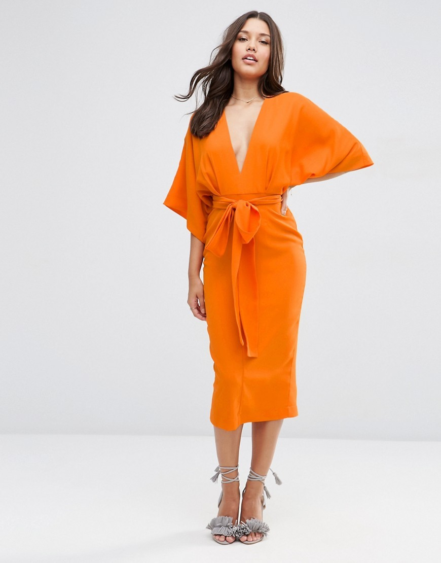 Kimono Deep Plunge Midi Dress Orange - style: shift; length: below the knee; neckline: plunge; sleeve style: dolman/batwing; fit: fitted at waist; pattern: plain; waist detail: belted waist/tie at waist/drawstring; predominant colour: bright orange; fibres: polyester/polyamide - 100%; occasions: occasion; sleeve length: half sleeve; pattern type: fabric; texture group: other - light to midweight; season: s/s 2016