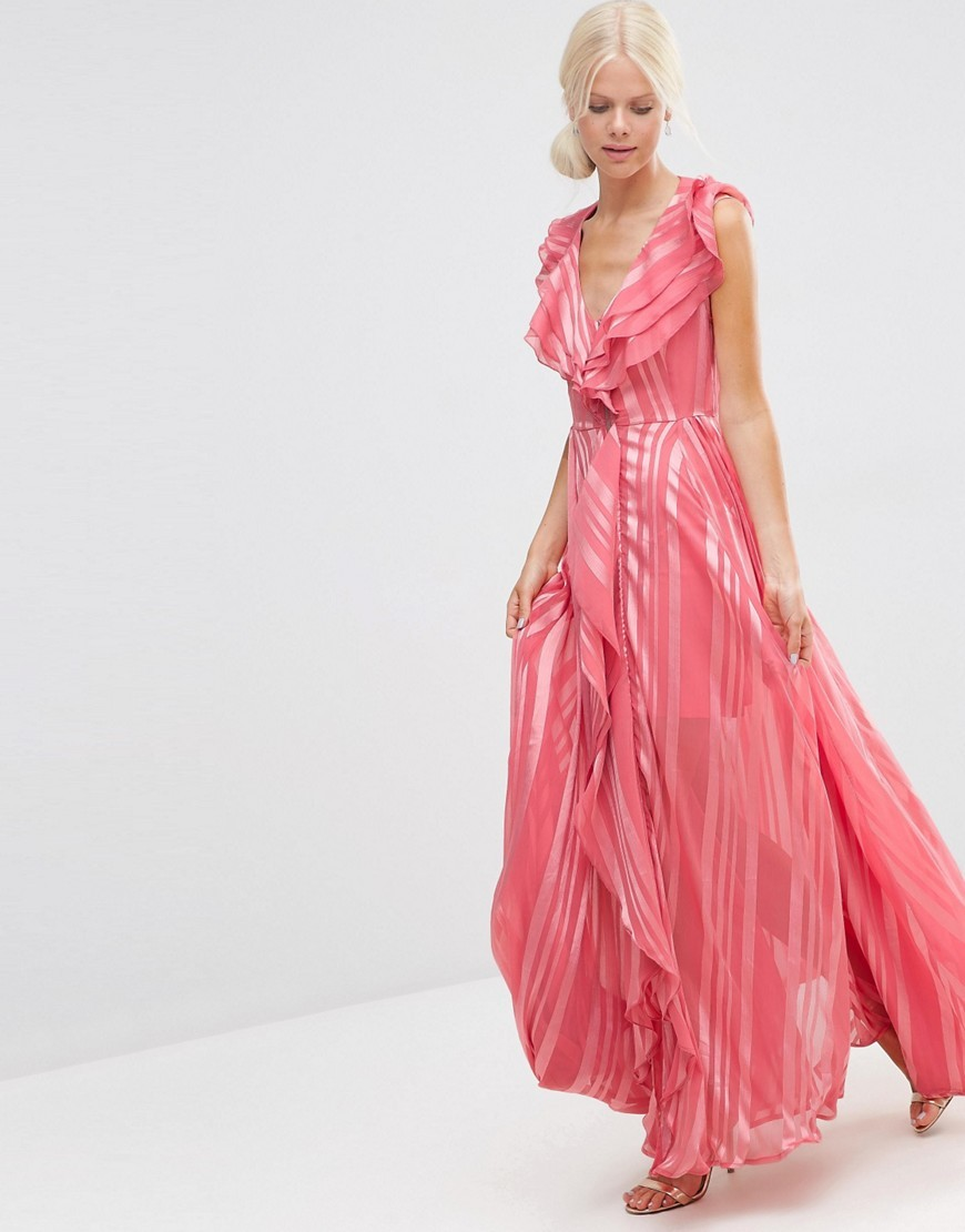 Ruffle Waterfall Maxi Dress With Zip Front In Self Stripe Dark Rose - neckline: low v-neck; pattern: vertical stripes; sleeve style: sleeveless; style: maxi dress; length: ankle length; predominant colour: pink; fit: body skimming; fibres: polyester/polyamide - 100%; occasions: occasion; sleeve length: sleeveless; texture group: sheer fabrics/chiffon/organza etc.; pattern type: fabric; season: s/s 2016; wardrobe: event