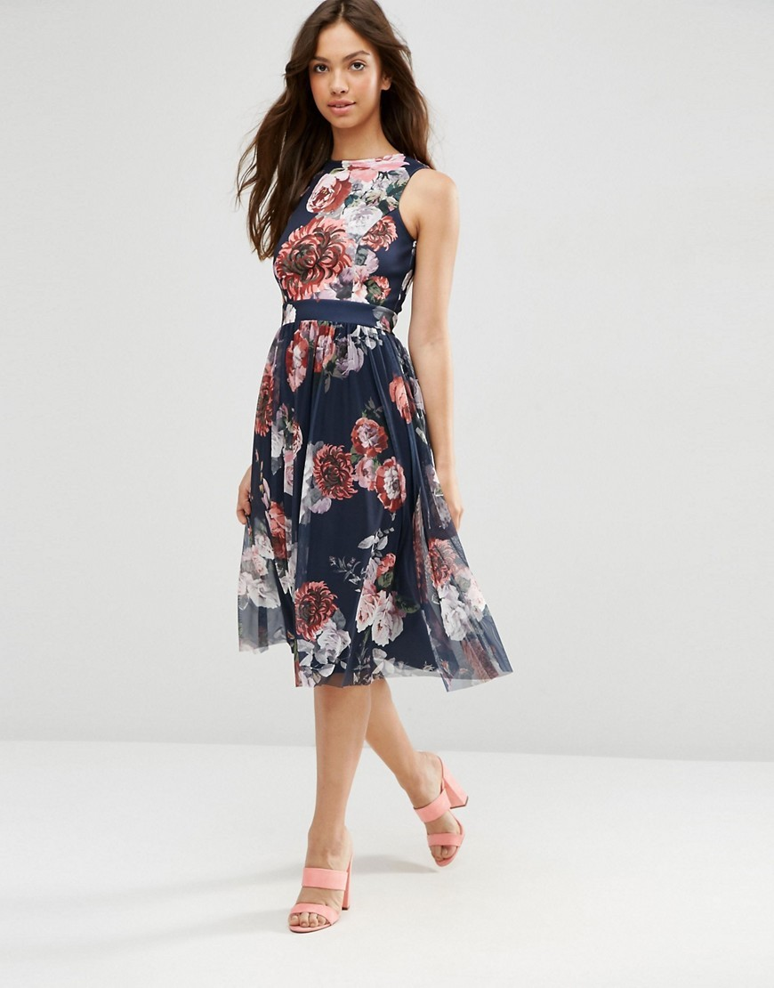 Floral Printed Mesh Skirt Midi Dress Floral - length: below the knee; sleeve style: sleeveless; secondary colour: blush; predominant colour: navy; fit: fitted at waist & bust; style: fit & flare; occasions: occasion; neckline: crew; sleeve length: sleeveless; pattern type: fabric; pattern: florals; texture group: other - light to midweight; fibres: nylon - stretch; multicoloured: multicoloured; season: s/s 2016; wardrobe: event