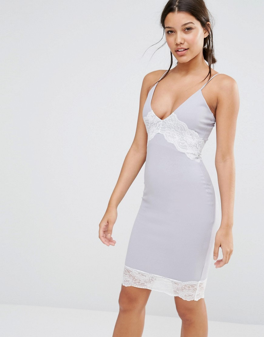 Contrast Lace Cami Dress Grey - neckline: low v-neck; sleeve style: spaghetti straps; fit: tight; pattern: plain; style: bodycon; secondary colour: white; predominant colour: pale blue; occasions: evening; length: just above the knee; fibres: polyester/polyamide - stretch; sleeve length: sleeveless; texture group: jersey - clingy; pattern type: fabric; embellishment: lace; multicoloured: multicoloured; season: s/s 2016; wardrobe: event