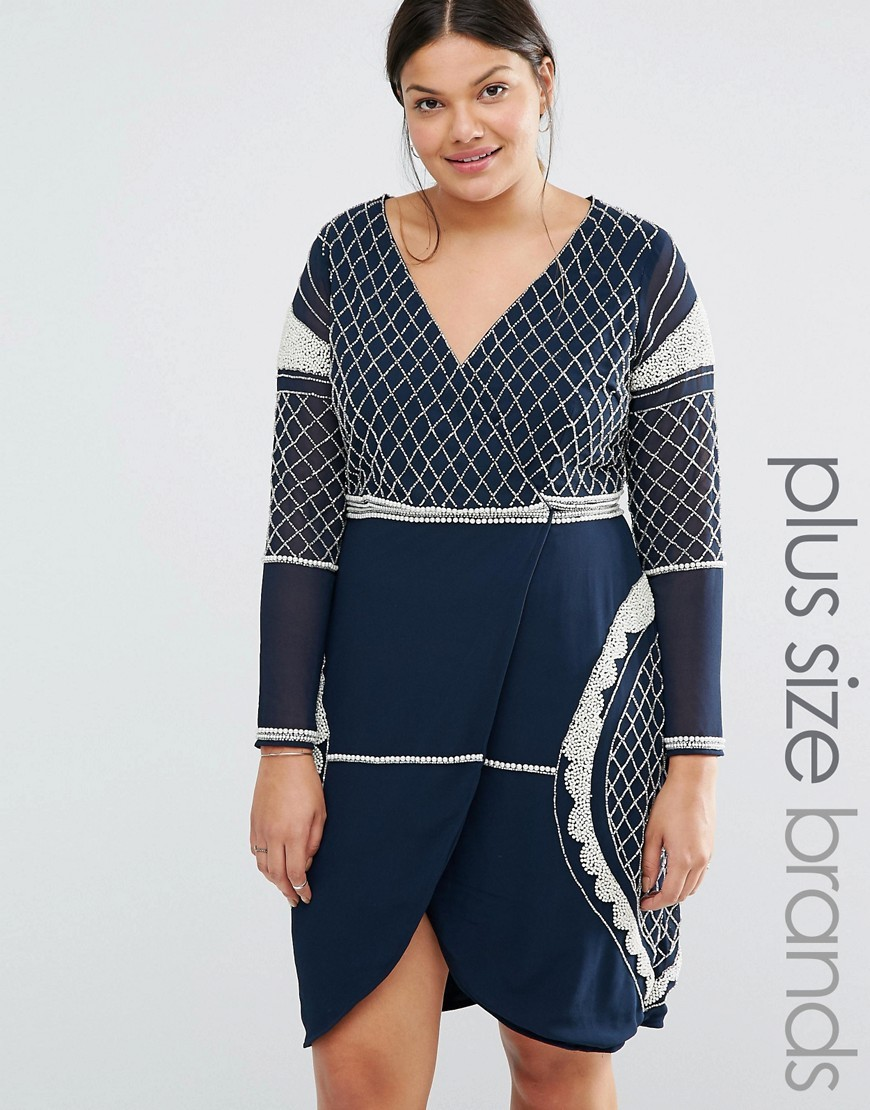 Long Sleeve Plunge Mini Dress With Patterned Beaded Embellishment Navy - style: faux wrap/wrap; neckline: v-neck; secondary colour: white; predominant colour: navy; occasions: evening; length: just above the knee; fit: body skimming; fibres: polyester/polyamide - 100%; sleeve length: long sleeve; sleeve style: standard; pattern type: fabric; pattern: patterned/print; texture group: other - light to midweight; multicoloured: multicoloured; season: s/s 2016; wardrobe: event