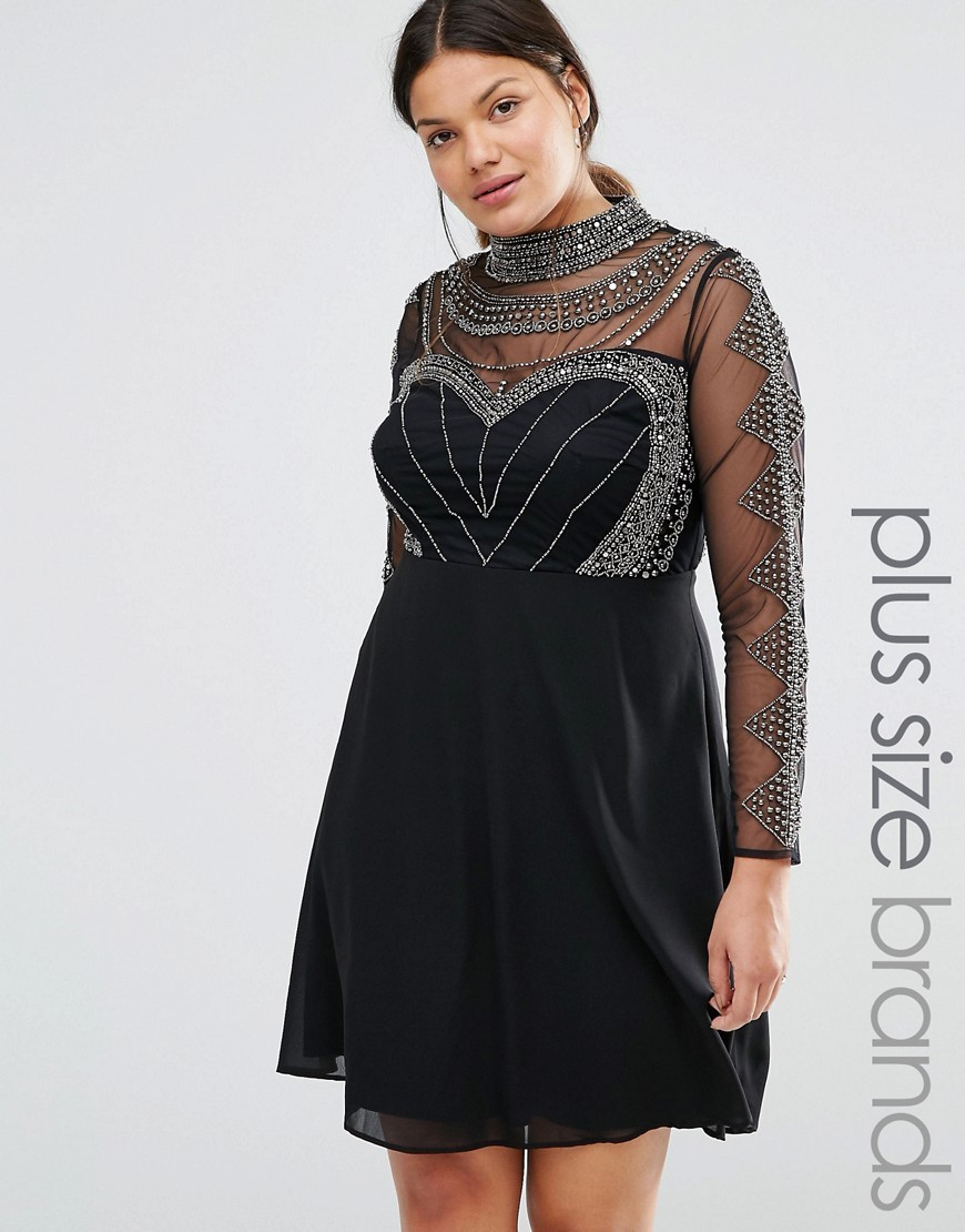 Long Sleeve High Neck Mini Dress With Embellished Bodice And Sleeves Black - pattern: plain; neckline: high neck; bust detail: sheer at bust; predominant colour: black; occasions: evening; length: just above the knee; fit: fitted at waist & bust; style: fit & flare; fibres: polyester/polyamide - 100%; sleeve length: long sleeve; sleeve style: standard; texture group: ornate wovens; pattern type: fabric; embellishment: beading; season: s/s 2016; wardrobe: event; embellishment location: bust, shoulder, sleeve/cuff