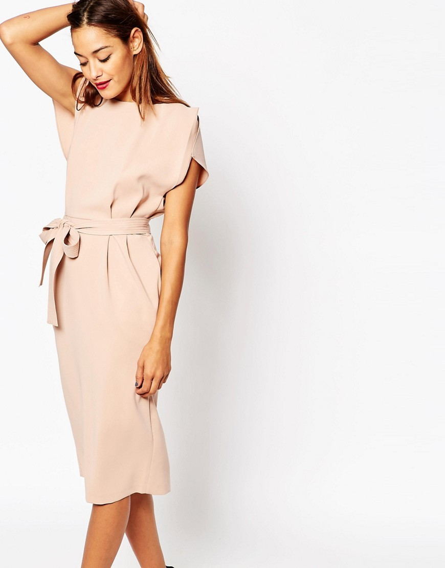 Belted Midi Dress With Split Cap Sleeve And Pencil Skirt Pink - style: shift; length: below the knee; neckline: slash/boat neckline; pattern: plain; waist detail: belted waist/tie at waist/drawstring; predominant colour: nude; occasions: evening; fit: body skimming; fibres: polyester/polyamide - stretch; sleeve length: short sleeve; sleeve style: standard; pattern type: fabric; texture group: other - light to midweight; season: s/s 2016