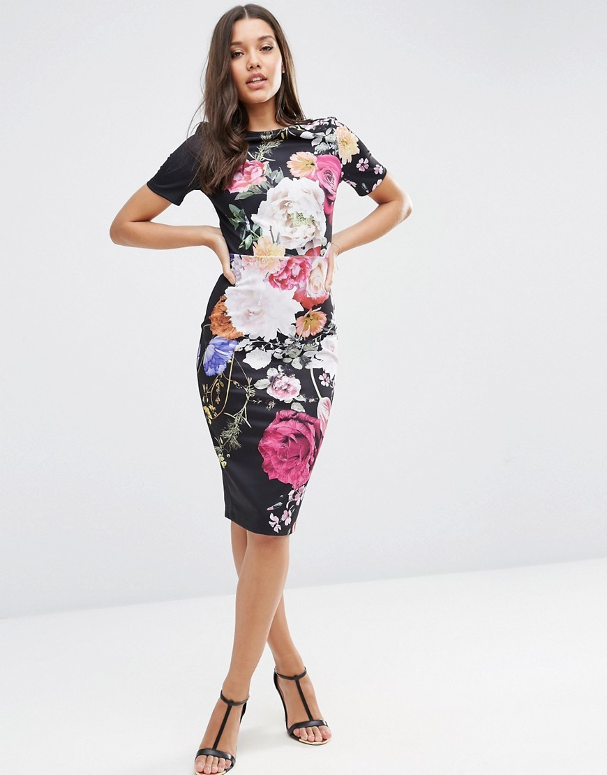 Placed Floral Print T Shirt Dress Dark Floral - style: shift; length: below the knee; secondary colour: pink; predominant colour: black; occasions: evening; fit: body skimming; fibres: polyester/polyamide - stretch; neckline: crew; sleeve length: short sleeve; sleeve style: standard; pattern type: fabric; pattern: patterned/print; texture group: jersey - stretchy/drapey; multicoloured: multicoloured; season: s/s 2016; wardrobe: event