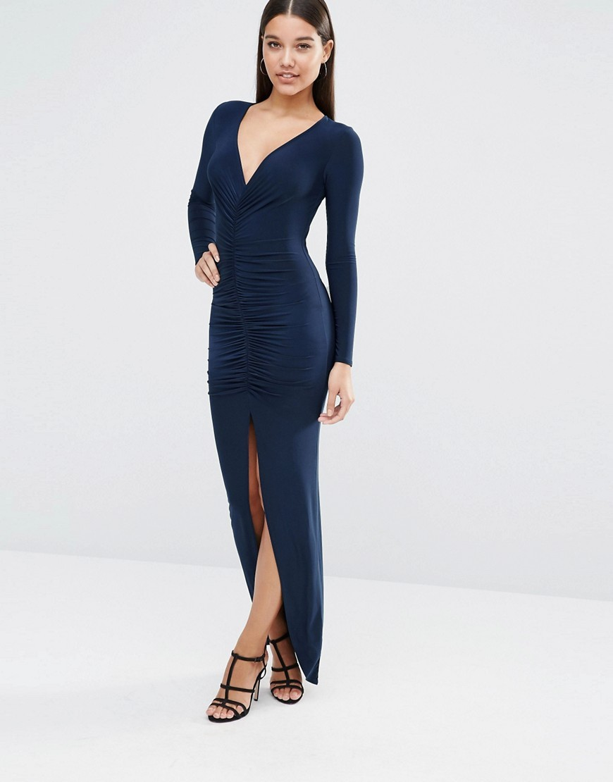 Long Sleeve Maxi Dress With Ruched Detail Navy - neckline: v-neck; fit: tight; pattern: plain; style: maxi dress; length: ankle length; hip detail: draws attention to hips; predominant colour: navy; occasions: evening; fibres: polyester/polyamide - stretch; sleeve length: long sleeve; sleeve style: standard; pattern type: fabric; texture group: jersey - stretchy/drapey; season: s/s 2016; wardrobe: event