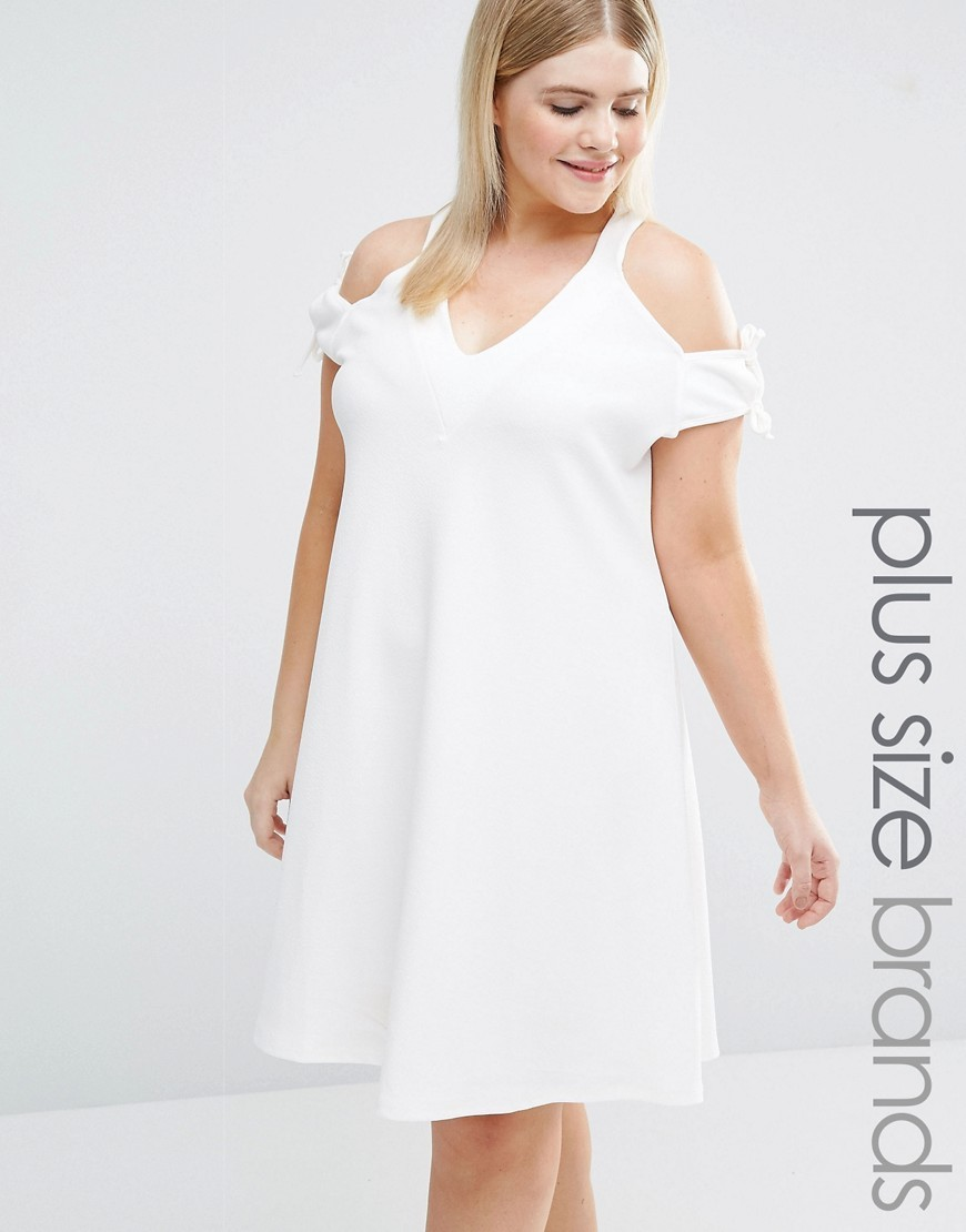 Cold Shoulder Tie Detail Swing Dress Cream - neckline: low v-neck; pattern: plain; style: sundress; predominant colour: white; length: on the knee; fit: soft a-line; fibres: polyester/polyamide - stretch; occasions: occasion; shoulder detail: cut out shoulder; sleeve length: short sleeve; sleeve style: standard; pattern type: fabric; texture group: jersey - stretchy/drapey; season: s/s 2016; wardrobe: event