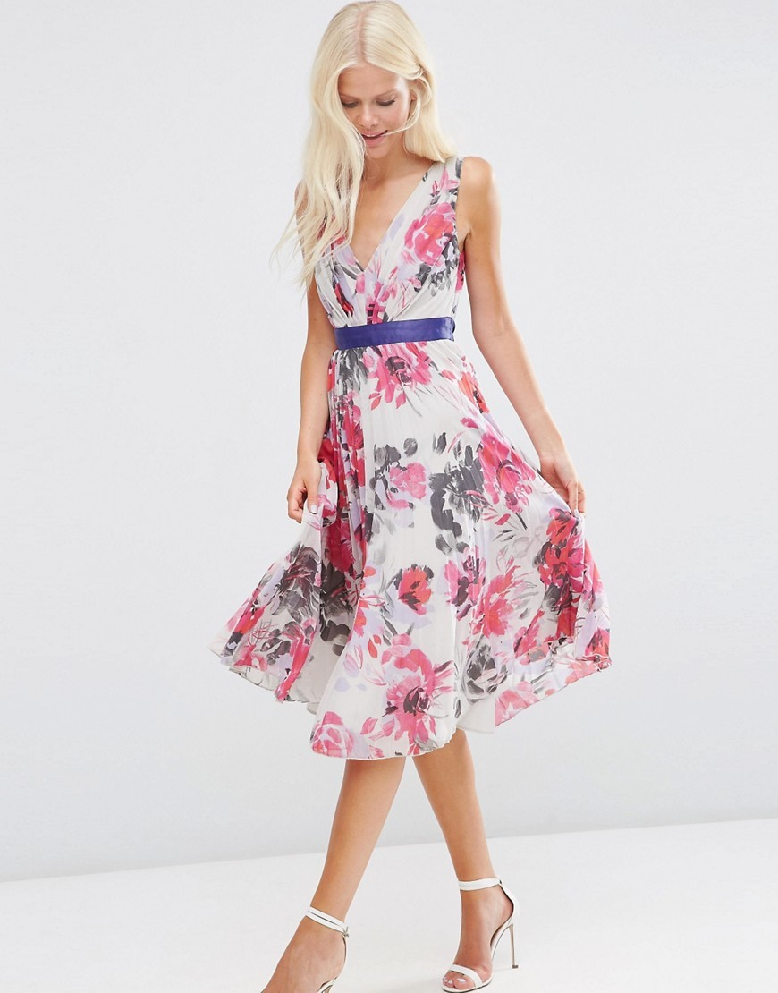 Floral Pleated Midi Dress With Grograin Multi - length: below the knee; neckline: low v-neck; sleeve style: sleeveless; predominant colour: ivory/cream; secondary colour: hot pink; fit: fitted at waist & bust; style: fit & flare; fibres: polyester/polyamide - 100%; occasions: occasion; sleeve length: sleeveless; pattern type: fabric; pattern size: standard; pattern: florals; texture group: other - light to midweight; multicoloured: multicoloured; season: s/s 2016; wardrobe: event