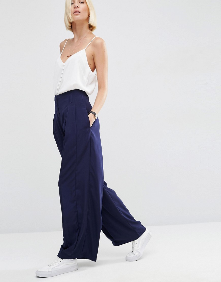 Pleat Front Wide Leg Trousers Navy - length: standard; pattern: plain; waist: high rise; predominant colour: navy; fibres: polyester/polyamide - 100%; occasions: occasion; texture group: structured shiny - satin/tafetta/silk etc.; fit: wide leg; pattern type: fabric; style: standard; season: s/s 2016; wardrobe: event