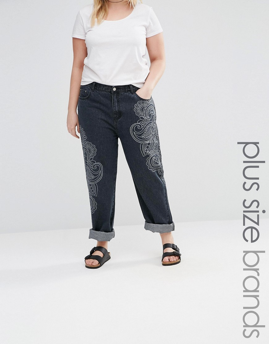 Paisley Printed Boyfriend Jean Blue - length: standard; pocket detail: traditional 5 pocket; waist: mid/regular rise; style: wide leg; predominant colour: navy; secondary colour: light grey; occasions: casual; fibres: cotton - 100%; texture group: denim; pattern type: fabric; pattern: patterned/print; embellishment: embroidered; multicoloured: multicoloured; season: s/s 2016; wardrobe: highlight