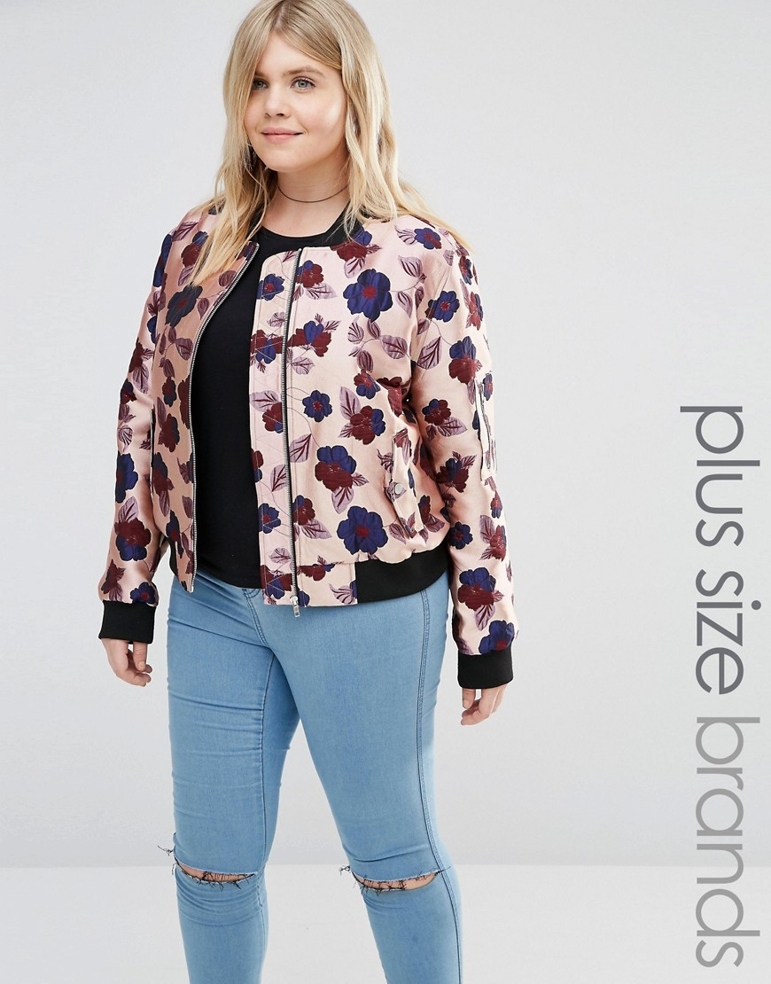 Floral Printed Satin Bomber Jacket Multi - collar: round collar/collarless; style: bomber; secondary colour: navy; predominant colour: nude; occasions: casual; length: standard; fit: straight cut (boxy); fibres: polyester/polyamide - 100%; sleeve length: long sleeve; sleeve style: standard; collar break: high; pattern type: fabric; pattern size: standard; pattern: florals; texture group: woven light midweight; multicoloured: multicoloured; season: s/s 2016; wardrobe: highlight
