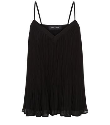 Black Pleated Chiffon Cami - neckline: v-neck; sleeve style: spaghetti straps; pattern: plain; style: camisole; predominant colour: black; occasions: casual; length: standard; fibres: polyester/polyamide - 100%; fit: body skimming; sleeve length: sleeveless; texture group: sheer fabrics/chiffon/organza etc.; pattern type: fabric; season: s/s 2016