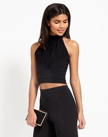 Co Ord Crop Top - pattern: plain; sleeve style: sleeveless; neckline: high neck; length: cropped; predominant colour: black; occasions: evening; style: top; fibres: viscose/rayon - 100%; fit: tight; sleeve length: sleeveless; texture group: jersey - clingy; pattern type: fabric; season: s/s 2016