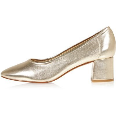 Womens Gold Block Heel Glove Shoes - predominant colour: gold; material: leather; heel height: mid; heel: block; toe: round toe; style: courts; finish: metallic; pattern: plain; occasions: creative work; season: s/s 2016; wardrobe: highlight