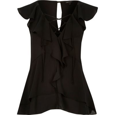 Womens Black Frill Blouse - neckline: low v-neck; sleeve style: capped; pattern: plain; style: blouse; predominant colour: black; length: standard; fibres: polyester/polyamide - 100%; fit: body skimming; sleeve length: short sleeve; texture group: sheer fabrics/chiffon/organza etc.; bust detail: bulky details at bust; pattern type: fabric; occasions: creative work; season: s/s 2016; wardrobe: highlight