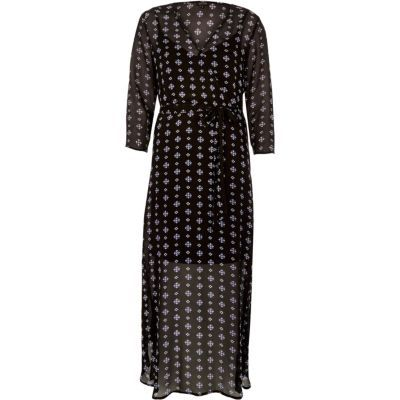 Womens Black Print Flowing Maxi Dress - neckline: v-neck; style: maxi dress; waist detail: belted waist/tie at waist/drawstring; secondary colour: light grey; predominant colour: black; occasions: evening; length: floor length; fit: body skimming; fibres: viscose/rayon - 100%; sleeve length: 3/4 length; sleeve style: standard; texture group: crepes; pattern type: fabric; pattern: patterned/print; multicoloured: multicoloured; season: s/s 2016; wardrobe: event