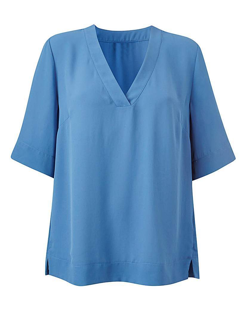 Blue V Neck Split Side Top - neckline: v-neck; pattern: plain; predominant colour: pale blue; occasions: casual; length: standard; style: top; fibres: polyester/polyamide - 100%; fit: body skimming; sleeve length: short sleeve; sleeve style: standard; pattern type: fabric; texture group: other - light to midweight; season: s/s 2016; wardrobe: highlight