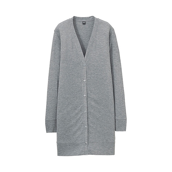 Women Long Sleeve Long Cardigan Gray - neckline: low v-neck; pattern: plain; length: below the bottom; predominant colour: mid grey; style: standard; fibres: viscose/rayon - 100%; fit: standard fit; sleeve length: long sleeve; sleeve style: standard; texture group: knits/crochet; pattern type: knitted - fine stitch; occasions: creative work; season: s/s 2016; wardrobe: basic