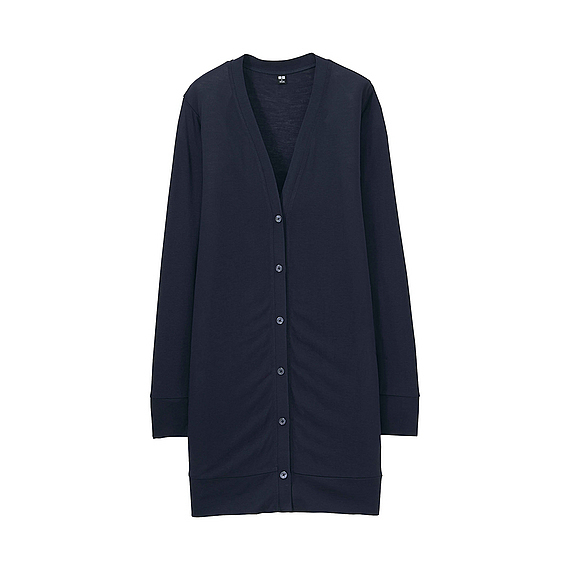 Women Long Sleeve Long Cardigan Navy - neckline: v-neck; pattern: plain; predominant colour: navy; occasions: casual; style: standard; fibres: viscose/rayon - 100%; fit: standard fit; length: mid thigh; sleeve length: long sleeve; sleeve style: standard; texture group: knits/crochet; pattern type: knitted - fine stitch; season: s/s 2016; wardrobe: basic