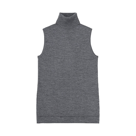 Women Merino Blend Ribbed Turtle Neck Sweater Gray - pattern: plain; sleeve style: sleeveless; neckline: roll neck; style: standard; predominant colour: charcoal; occasions: casual; length: standard; fibres: wool - mix; fit: slim fit; sleeve length: sleeveless; texture group: knits/crochet; pattern type: knitted - fine stitch; season: s/s 2016; wardrobe: basic