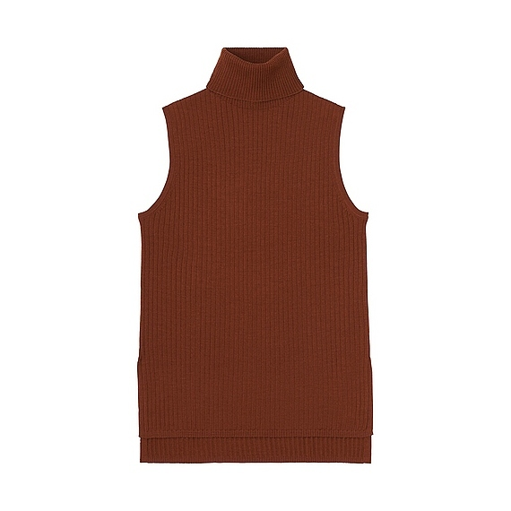 Women Merino Blend Ribbed Turtle Neck Sweater (Size Xl) Brown - pattern: plain; sleeve style: sleeveless; neckline: roll neck; style: standard; predominant colour: chocolate brown; occasions: casual; length: standard; fibres: wool - mix; fit: slim fit; sleeve length: sleeveless; texture group: knits/crochet; pattern type: knitted - fine stitch; season: s/s 2016; wardrobe: basic
