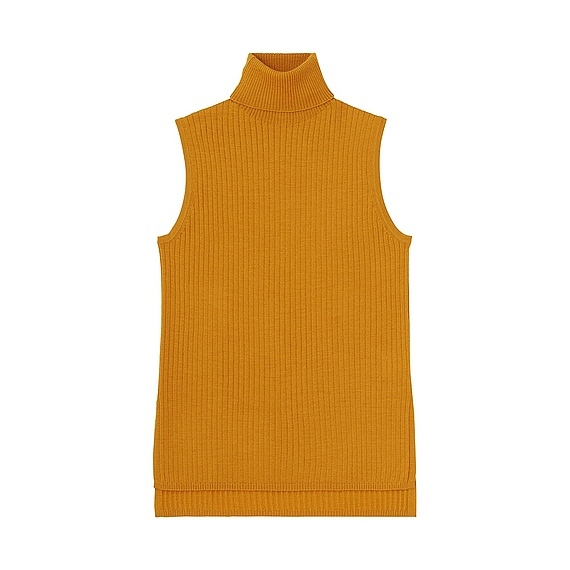 Women Merino Blend Ribbed Turtle Neck Sweater Mustard - pattern: plain; sleeve style: sleeveless; neckline: roll neck; style: standard; predominant colour: mustard; occasions: casual; length: standard; fibres: wool - mix; fit: slim fit; sleeve length: sleeveless; texture group: knits/crochet; pattern type: knitted - fine stitch; season: s/s 2016; wardrobe: highlight