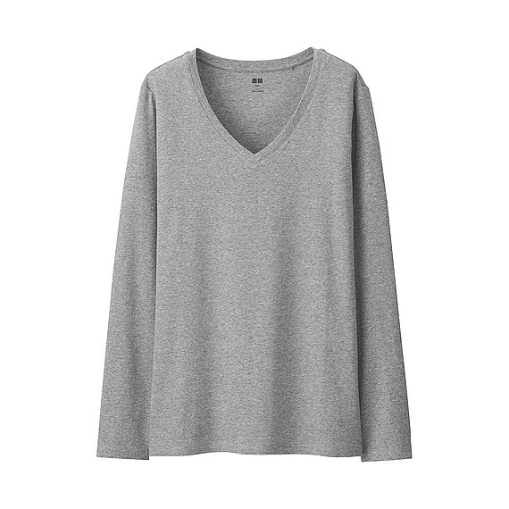 Women Supima Cotton V Neck T Shirt (9 Colours) Gray - neckline: v-neck; pattern: plain; length: below the bottom; style: t-shirt; predominant colour: mid grey; occasions: casual; fibres: cotton - 100%; fit: body skimming; sleeve length: long sleeve; sleeve style: standard; pattern type: knitted - fine stitch; texture group: jersey - stretchy/drapey; season: s/s 2016; wardrobe: basic