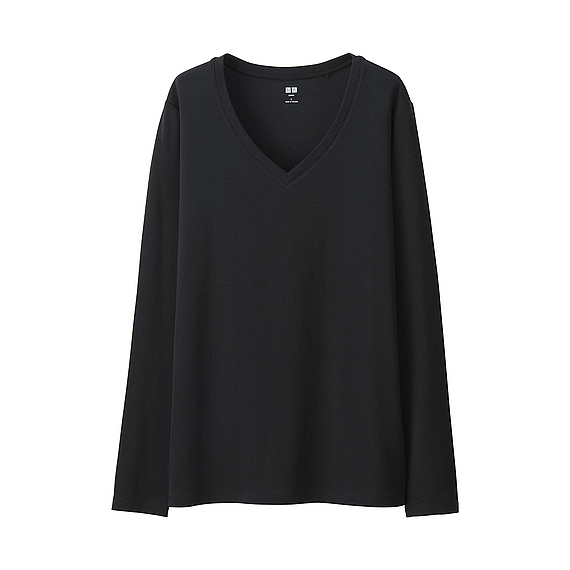 Women Supima Cotton V Neck T Shirt (9 Colours) Black - neckline: v-neck; pattern: plain; predominant colour: black; occasions: casual, creative work; length: standard; style: top; fibres: cotton - 100%; fit: body skimming; sleeve length: long sleeve; sleeve style: standard; pattern type: knitted - fine stitch; texture group: jersey - stretchy/drapey; season: s/s 2016; wardrobe: basic