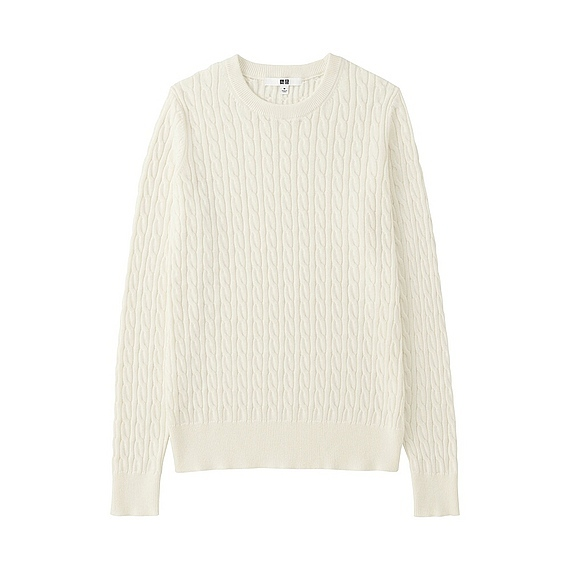 Women Cotton Cashmere Cable Sweater Off White - style: standard; pattern: cable knit; predominant colour: ivory/cream; occasions: casual; length: standard; fibres: cotton - mix; fit: standard fit; neckline: crew; sleeve length: long sleeve; sleeve style: standard; texture group: knits/crochet; pattern type: knitted - fine stitch; season: s/s 2016