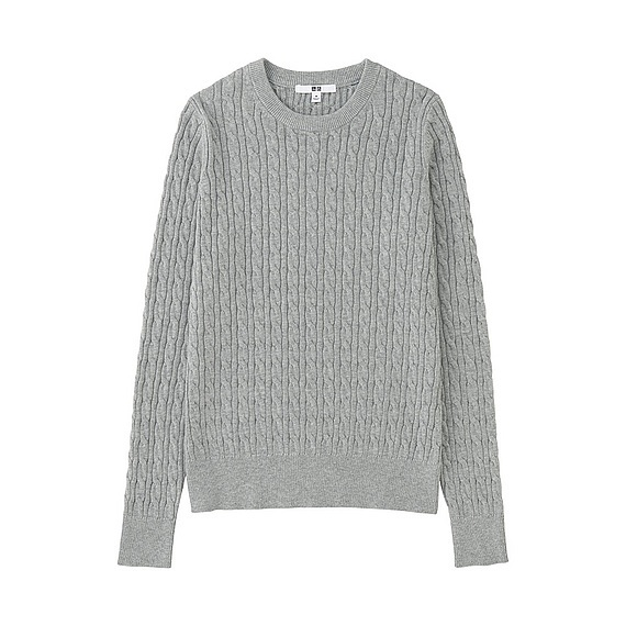 Women Cotton Cashmere Cable Sweater Light Gray - style: standard; pattern: cable knit; predominant colour: light grey; occasions: casual; length: standard; fibres: cotton - mix; fit: standard fit; neckline: crew; sleeve length: long sleeve; sleeve style: standard; texture group: knits/crochet; pattern type: knitted - fine stitch; season: s/s 2016; wardrobe: highlight
