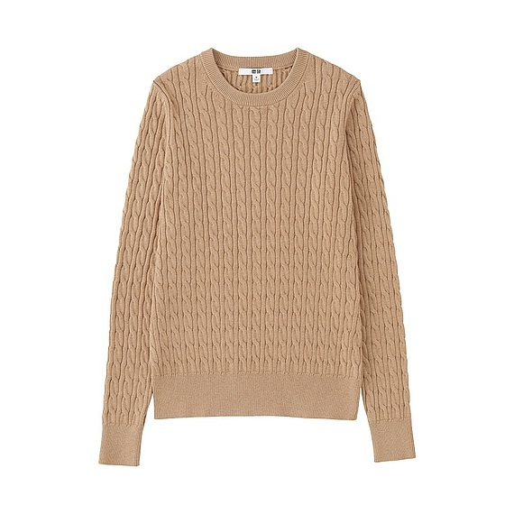 Women Cotton Cashmere Cable Sweater (Size Xl) Beige - style: standard; pattern: cable knit; predominant colour: camel; occasions: casual; length: standard; fibres: cotton - mix; fit: standard fit; neckline: crew; sleeve length: long sleeve; sleeve style: standard; texture group: knits/crochet; pattern type: knitted - fine stitch; season: s/s 2016; wardrobe: highlight