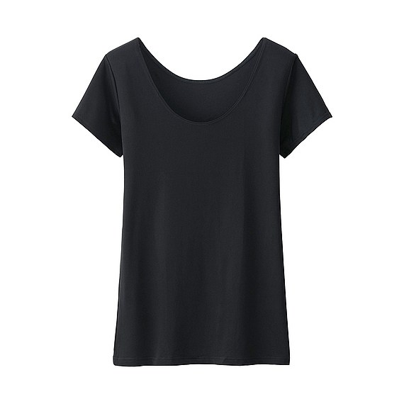 Women Ai Rism Scoop Neck Short Sleeve T Shirt Black - pattern: plain; style: t-shirt; predominant colour: black; occasions: casual; length: standard; neckline: scoop; fit: body skimming; sleeve length: short sleeve; sleeve style: standard; pattern type: fabric; texture group: jersey - stretchy/drapey; fibres: nylon - stretch; season: s/s 2016; wardrobe: basic
