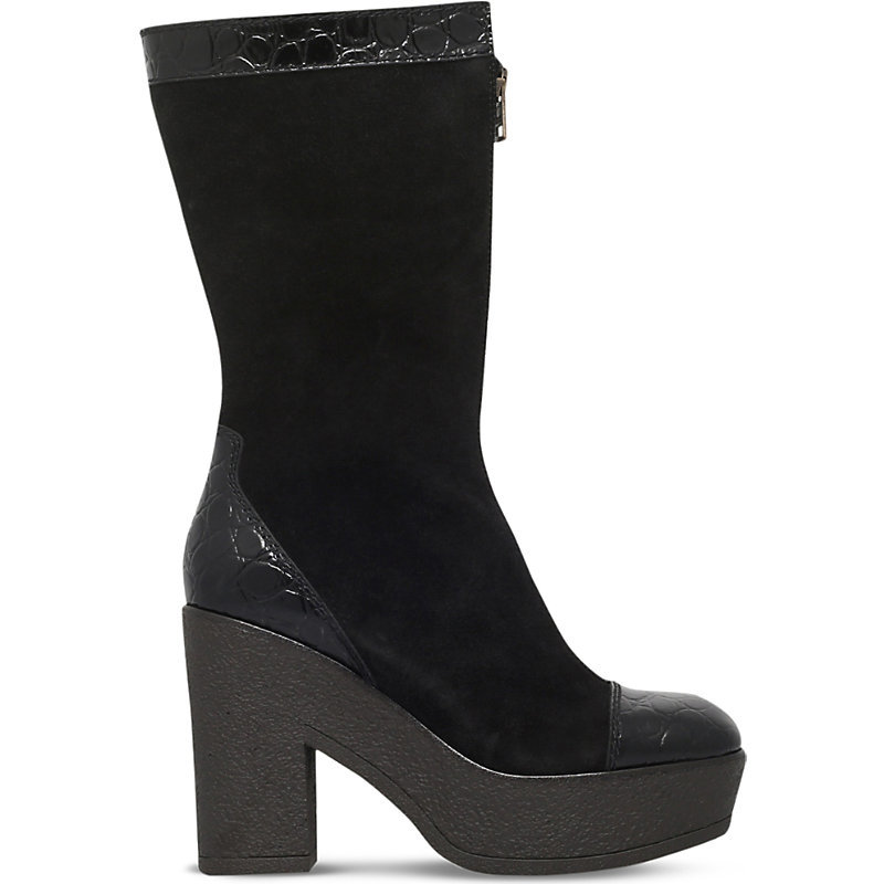 Lytton Suede And Patent Leather Boots, Women's, Eur 39 / 6 Uk Women, Black - predominant colour: black; material: suede; heel: standard; toe: round toe; boot length: mid calf; style: standard; finish: plain; pattern: plain; heel height: very high; occasions: creative work; season: s/s 2016; wardrobe: highlight