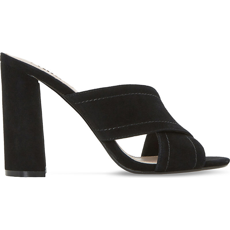 Maxi Suede Heeled Mule Sandals, Women's, Eur 39 / 6 Uk Women, Black Suede - predominant colour: black; occasions: evening; material: suede; heel height: high; heel: block; toe: open toe/peeptoe; style: mules; finish: plain; pattern: plain; season: s/s 2016; wardrobe: event