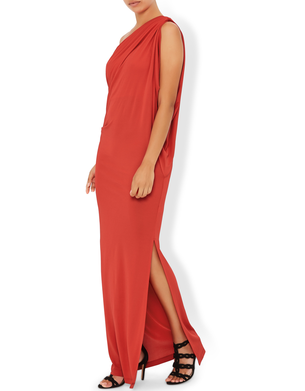 Oona Maxi Dress - fit: loose; pattern: plain; style: maxi dress; sleeve style: asymmetric sleeve; neckline: asymmetric; bust detail: subtle bust detail; predominant colour: bright orange; length: floor length; occasions: occasion; sleeve length: sleeveless; pattern type: fabric; pattern size: standard; texture group: jersey - stretchy/drapey; fibres: viscose/rayon - mix; season: s/s 2016; wardrobe: event