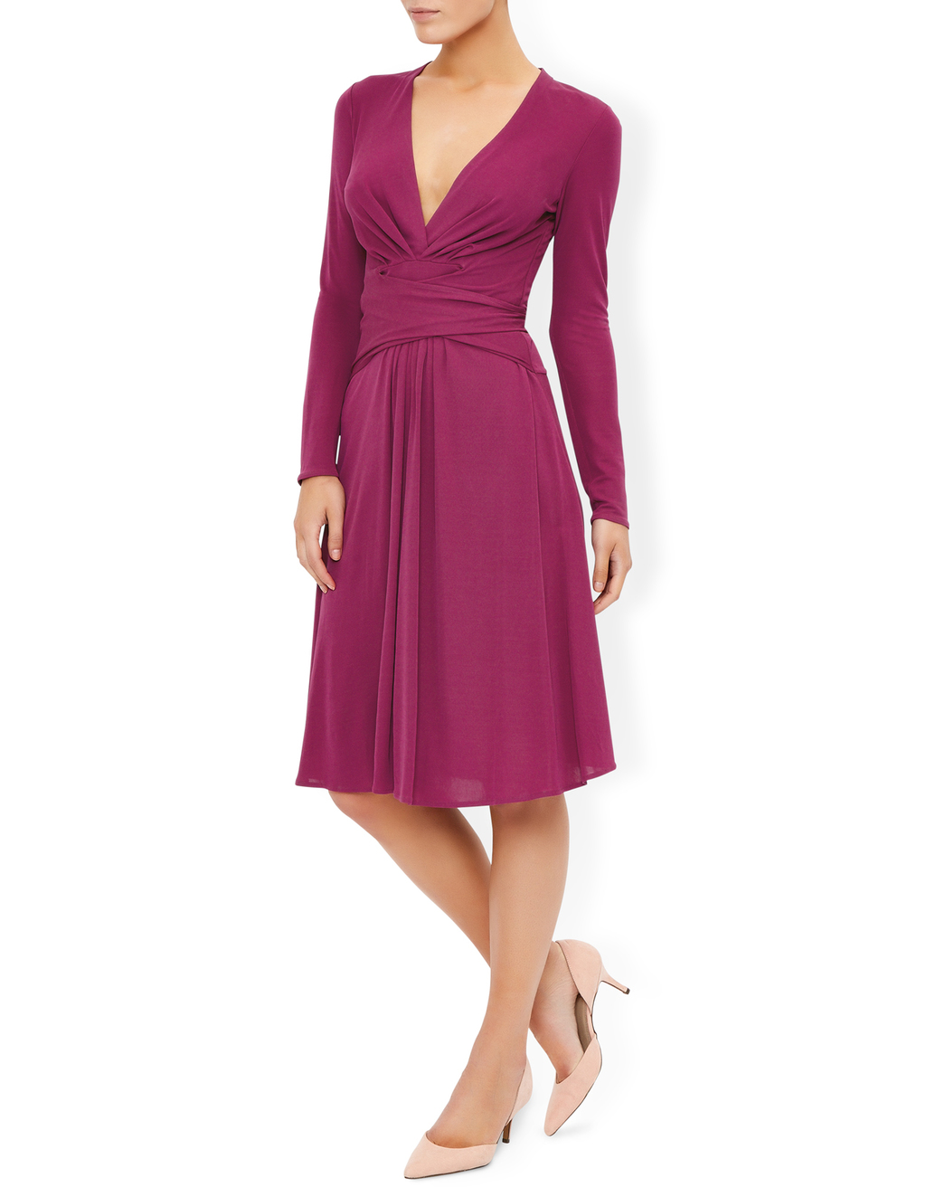 Gisele Dress - neckline: low v-neck; pattern: plain; waist detail: flattering waist detail; predominant colour: magenta; occasions: evening, occasion; length: on the knee; fit: fitted at waist & bust; style: fit & flare; fibres: viscose/rayon - 100%; sleeve length: long sleeve; sleeve style: standard; pattern type: fabric; pattern size: standard; texture group: woven light midweight; season: s/s 2016; wardrobe: event