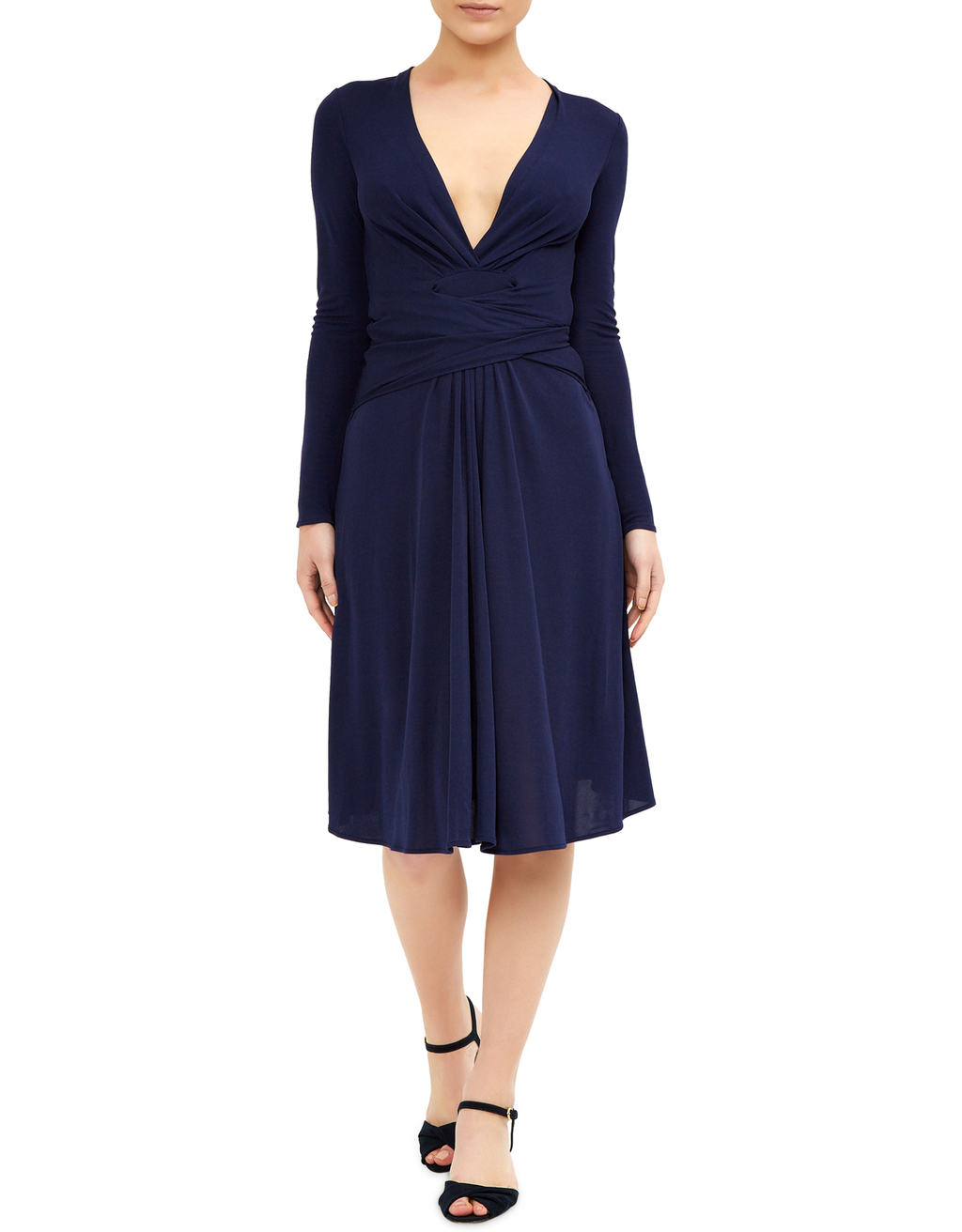 Gisele Dress - neckline: low v-neck; pattern: plain; waist detail: flattering waist detail; predominant colour: navy; occasions: evening, occasion; length: on the knee; fit: fitted at waist & bust; style: fit & flare; fibres: viscose/rayon - 100%; sleeve length: long sleeve; sleeve style: standard; pattern type: fabric; pattern size: standard; texture group: woven light midweight; season: s/s 2016; wardrobe: event