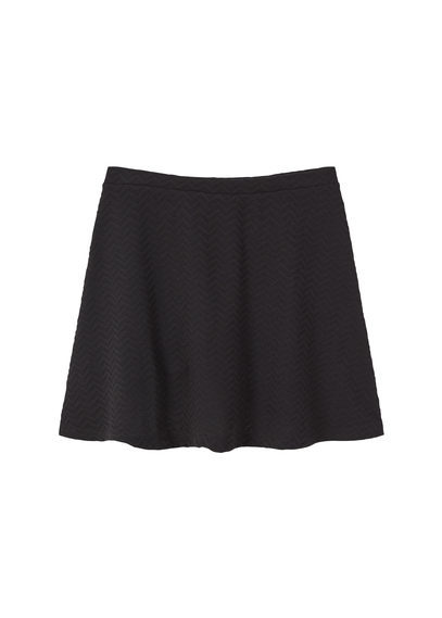 Textured Flared Skirt - length: mid thigh; pattern: plain; fit: body skimming; waist: mid/regular rise; predominant colour: black; occasions: casual; style: fit & flare; fibres: polyester/polyamide - stretch; pattern type: fabric; texture group: jersey - stretchy/drapey; season: s/s 2016