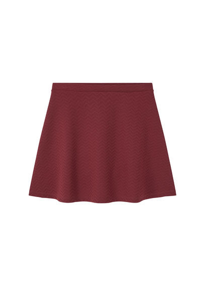 Textured Flared Skirt - length: mid thigh; pattern: plain; style: wrap/faux wrap; fit: body skimming; waist: mid/regular rise; predominant colour: burgundy; occasions: casual; fibres: polyester/polyamide - stretch; pattern type: fabric; texture group: jersey - stretchy/drapey; season: s/s 2016; wardrobe: highlight