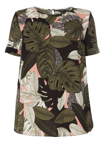 Womens **Dp Curve Pink Tropical Print Soft Tee Pink - style: t-shirt; secondary colour: khaki; predominant colour: black; occasions: casual; length: standard; fibres: polyester/polyamide - 100%; fit: body skimming; neckline: crew; sleeve length: short sleeve; sleeve style: standard; pattern type: fabric; pattern: florals; texture group: other - light to midweight; pattern size: big & busy (top); multicoloured: multicoloured; season: s/s 2016; wardrobe: highlight