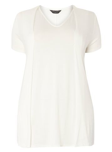 Womens **Dp Curve Ivory Pleat Front Tee White - neckline: v-neck; pattern: plain; length: below the bottom; style: t-shirt; predominant colour: ivory/cream; occasions: casual; fibres: viscose/rayon - stretch; fit: body skimming; sleeve length: short sleeve; sleeve style: standard; pattern type: fabric; texture group: other - light to midweight; season: s/s 2016; wardrobe: basic