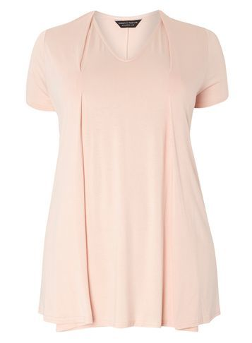 Womens **Dp Curve Blush Pleat Front Tee Pink - neckline: v-neck; pattern: plain; predominant colour: blush; occasions: casual; length: standard; style: top; fibres: viscose/rayon - stretch; fit: body skimming; sleeve length: short sleeve; sleeve style: standard; pattern type: fabric; texture group: jersey - stretchy/drapey; season: s/s 2016