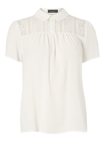 Womens Ivory Peterpan Lace Tee White - neckline: shirt collar/peter pan/zip with opening; pattern: plain; style: shirt; predominant colour: white; occasions: casual; length: standard; fibres: polyester/polyamide - stretch; fit: body skimming; sleeve length: short sleeve; sleeve style: standard; pattern type: fabric; texture group: other - light to midweight; embellishment: lace; season: s/s 2016; wardrobe: highlight