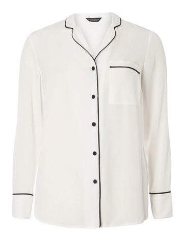 Womens Ivory Pj Shirt White - neckline: shirt collar/peter pan/zip with opening; pattern: plain; style: shirt; predominant colour: white; secondary colour: black; occasions: casual; length: standard; fibres: polyester/polyamide - 100%; fit: body skimming; sleeve length: long sleeve; sleeve style: standard; pattern type: fabric; texture group: other - light to midweight; season: s/s 2016; wardrobe: basic