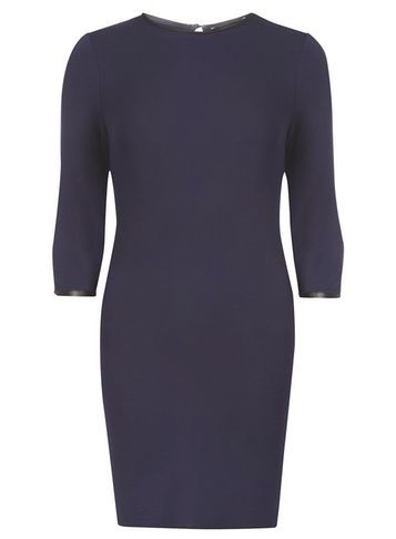 Womens Navy Pu Trim Swing Dress Navy - style: shift; length: mid thigh; pattern: plain; predominant colour: navy; occasions: evening; fit: body skimming; fibres: viscose/rayon - stretch; neckline: crew; sleeve length: 3/4 length; sleeve style: standard; pattern type: fabric; texture group: jersey - stretchy/drapey; season: s/s 2016; wardrobe: event