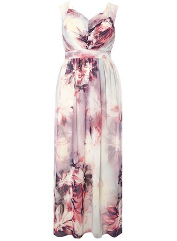 Womens Floral Yve Maxi Dress Multi Colour - neckline: v-neck; sleeve style: sleeveless; style: maxi dress; length: ankle length; predominant colour: ivory/cream; secondary colour: pink; occasions: evening; fit: body skimming; fibres: polyester/polyamide - 100%; sleeve length: sleeveless; pattern type: fabric; pattern: florals; texture group: other - light to midweight; multicoloured: multicoloured; season: s/s 2016
