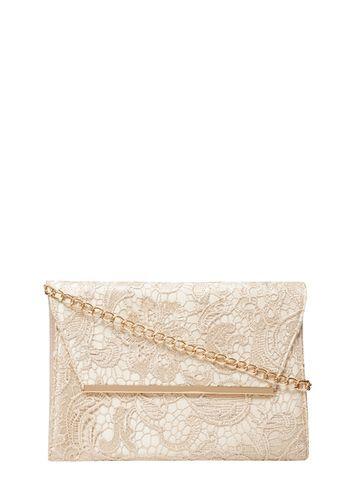 Womens Gold Lace Chain Clutch Bag Gold - predominant colour: gold; occasions: evening, occasion; type of pattern: standard; style: clutch; length: hand carry; size: standard; material: lace; finish: plain; pattern: patterned/print; season: s/s 2016; wardrobe: event