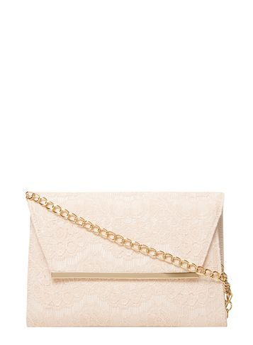 Womens Blush Lace Chain Clutch Bag Pink - predominant colour: nude; secondary colour: gold; occasions: evening, occasion; type of pattern: standard; style: clutch; length: hand carry; size: standard; material: lace; finish: plain; pattern: patterned/print; season: s/s 2016; wardrobe: event